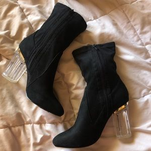 Black suede ankle booties / size 8